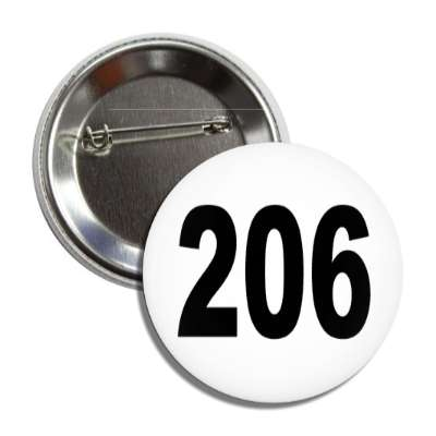 number 206 white black button