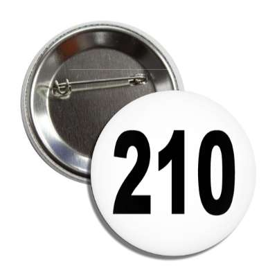 number 210 white black button