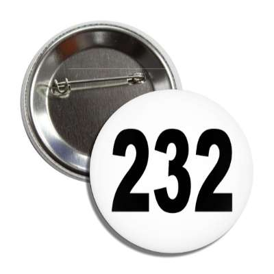 number 232 white black button