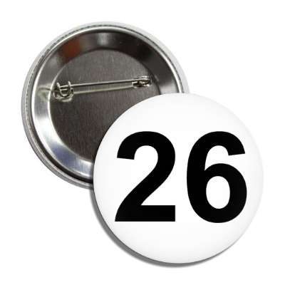 number 26 white black button