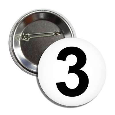 number 3 white black button