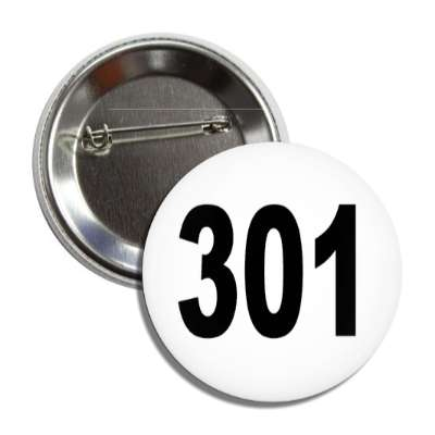 number 301 white black button