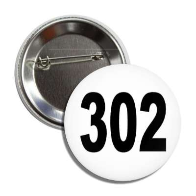 number 302 white black button