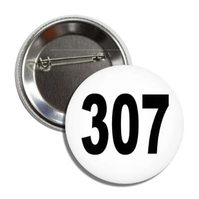number 307 white black button