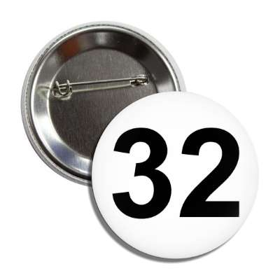 number 32 white black button