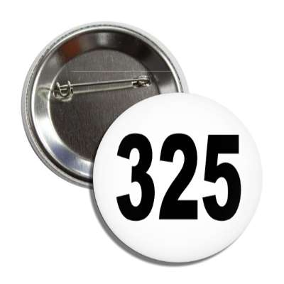 number 325 white black button