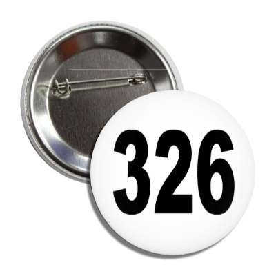 number 326 white black button
