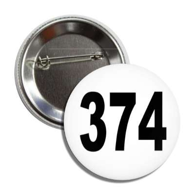 number 374 white black button