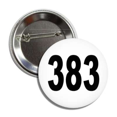 number 383 white black button