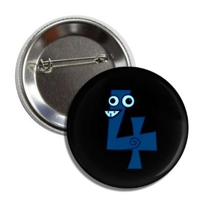 number 4 silly swirl cartoon character button
