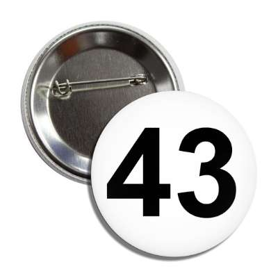 number 43 white black button