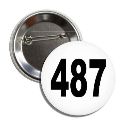 number 487 white black button