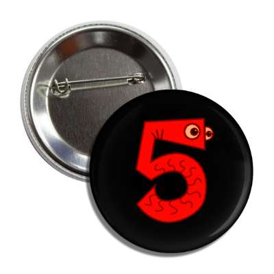 number 5 worm monster cartoon character button