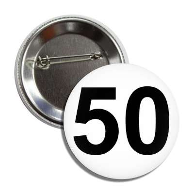 number 50 white black button