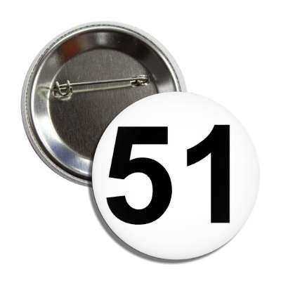number 51 white black button