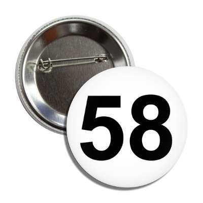 number 58 white black button