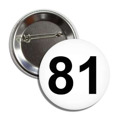 number 81 white black button