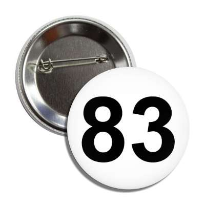 number 83 white black button