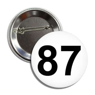 number 87 white black button