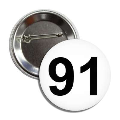 number 91 white black button