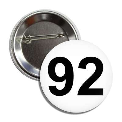 number 92 white black button