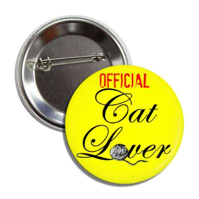 official cat lover yarn yellow cursive button
