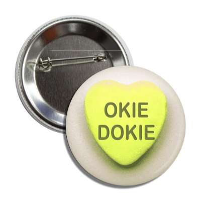 okie dokie yellow valentines day heart candy button