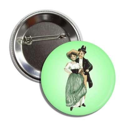 old time st patricks day couple vintage green button