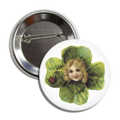 old time st patricks day vintage four leaf clover button