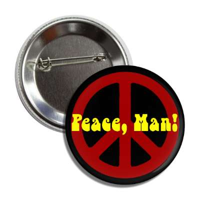 peace man red peace sign black hippy button