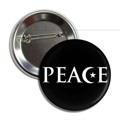 peace moon star black crescent symbol button