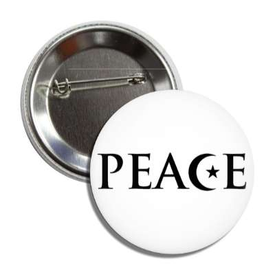 peace moon star white crescent symbol button