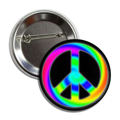 peace sign rainbow swirl black button