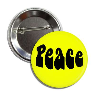 peace yellow hippy button