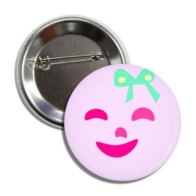 pink face ribbon button