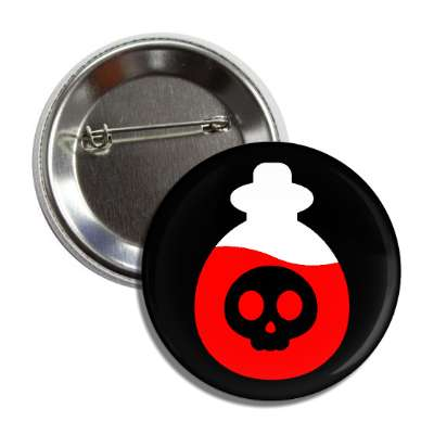 poison bottle skull black red white button