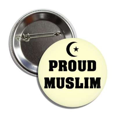 proud muslim crescent star symbol button