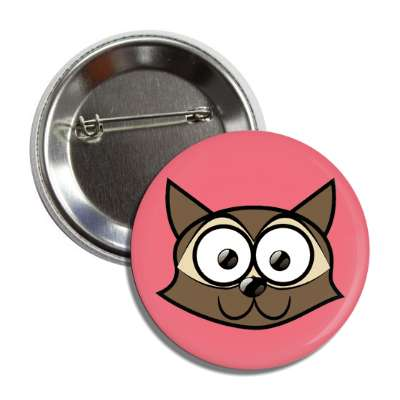 raccoon cute cartoon button