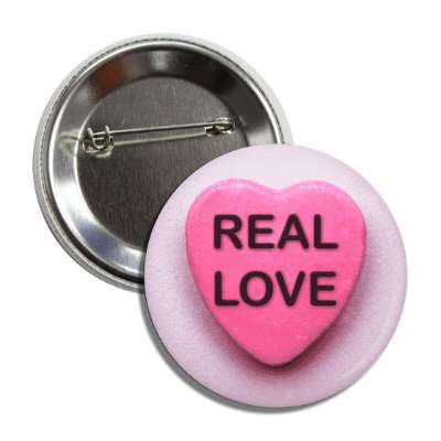 real love valentines candy pink heart button