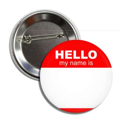 red hello my name is button