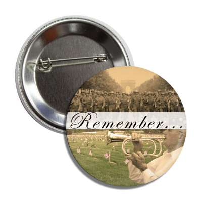 remember troops vintage imagery button