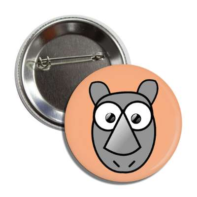 rhino cute cartoon button