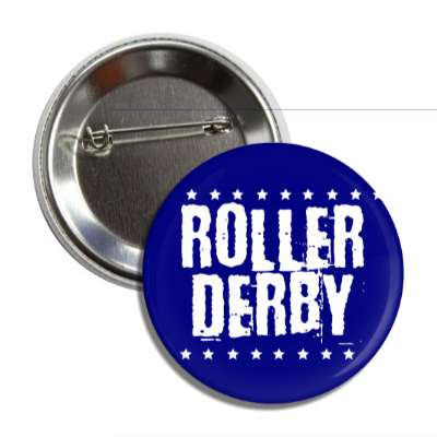 roller derby dark blue stars grunge button