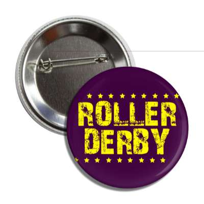 roller derby grunge dark purple yellow stars button