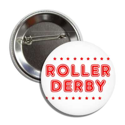 roller derby white red stars classic button