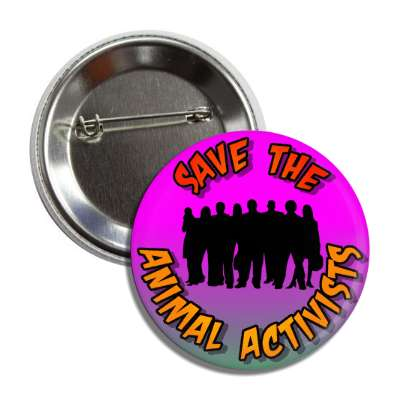 save the animal activists group people silhouette button