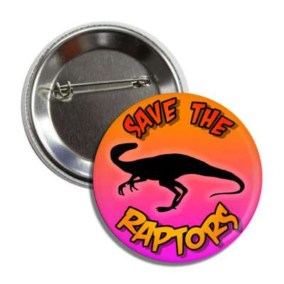 save the raptors dinosaur silhouette button