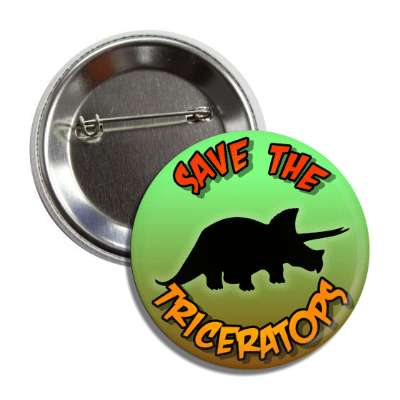 save the triceratops dinosaur silhouette button
