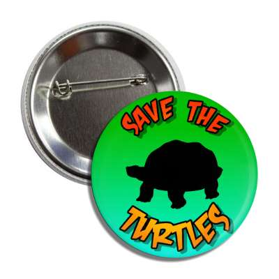 save the turtles reptile silhouette button