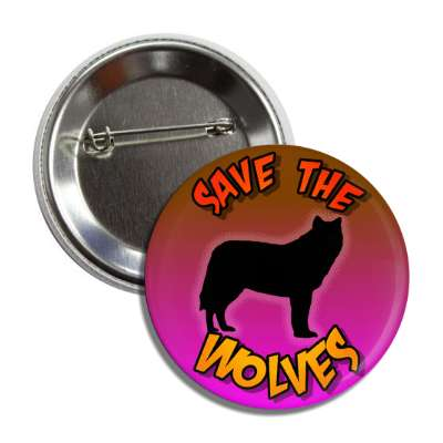 save the wolves silhouette button